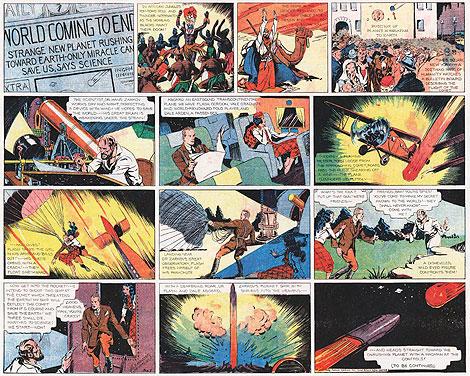 Tira original de Flash donde narra el momento en el que Zarkov les 'invita' a visitar Mongo