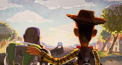 El abrazo de un astronauta y un cowboy... de juguete