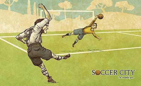 Ilustraciones de 'Soccer City', muchas de las cuales aparecen en las cartas. Todas están tomadas de la web y el Twitter de Soccer City