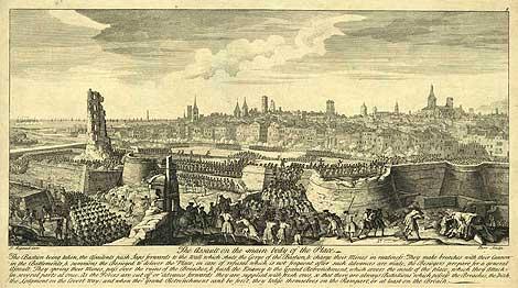 Asalto final sobre Barcelona del 11 de septiembre de 1714. Jacques Rigaud (1680–1754) / Parr / Bowles - Institut Cartogràfic de Catalunya - Wikipedia