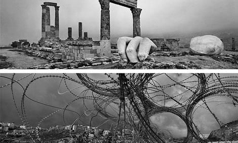 Jordania (Ammán), de la serie Arqueología, 2012 (superior) e 'srael‐Palestina (Al 'Eizariya [Betania]), de la serie Muro, 2010 © Josef Koudelka / Magnum Photos