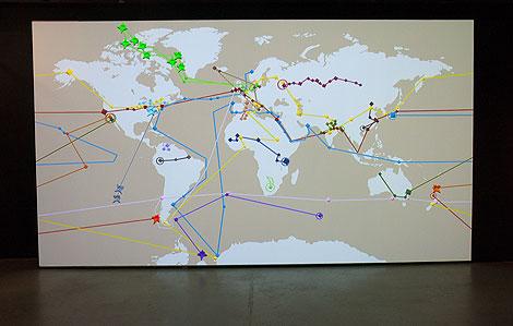 Mapa en el que se unen los lugares usados por Verne para sus aventuras