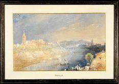 'Sevilla. Vista desde la Cartuja'. Acuarela sobre papel | ©Familia Ford