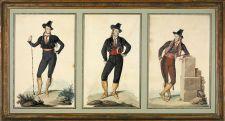 "Triple retrato de Richard Ford como ""majo serio"" en la Feria de Mairena, 1832. Acuarela sobre papel | ©Familia Ford"