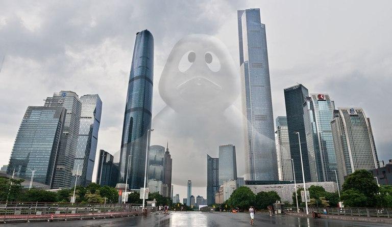 El nuevo eje de Guangzhou, con los dos colosos a sus lados