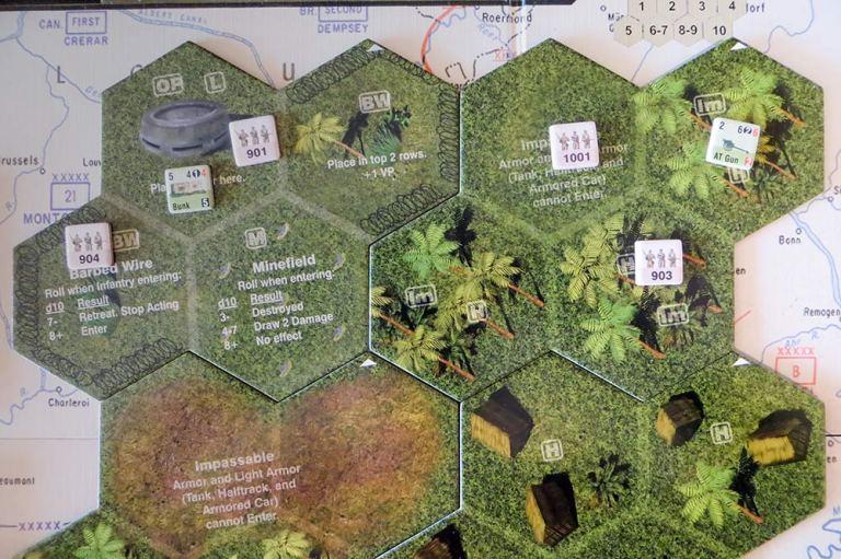Un momento avanzado en una batalla: mis unidades han cercado a un enemigo a la derecha y atacan un búnker a la izquierda