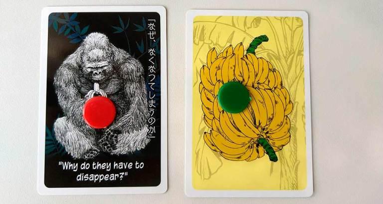 Los dos tipos de cartas que se incluyen: gorilas y bananas