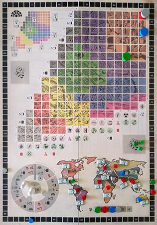 Tablero de historia, con su matriz central, el marcador de turnos y el mapa, rodeados del track de puntuación.